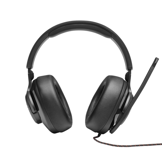 JBL Quantum 300 - Black - Hybrid wired over-ear PC gaming headset with flip-up mic - Front
