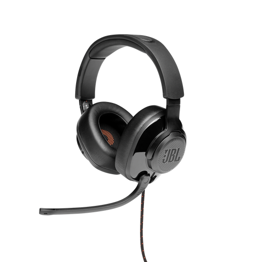 JBL Quantum 300 - Black - Hybrid wired over-ear PC gaming headset with flip-up mic - Hero