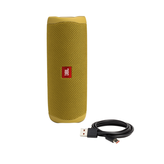 JBL FLIP 5 - Mustard Yellow - Portable Waterproof Speaker - Detailshot 1